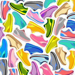 pattern of colored sports shoes