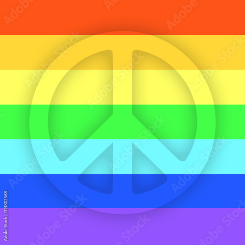 Peace sign flat icon with rainbow pattern, for apps and