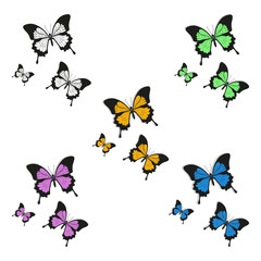 set of butterflies logo