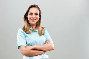Portrait of beautiful nurse looking at camera.