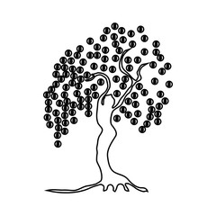 Money tree with coins icon, outline style
