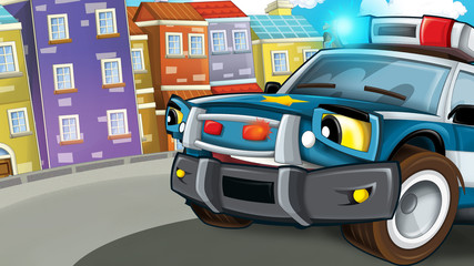 Cartoon scene of police pursuit - policeman is waiting - illustration for children