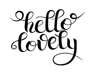 black and white modern calligraphy hello lovely lettering inscri