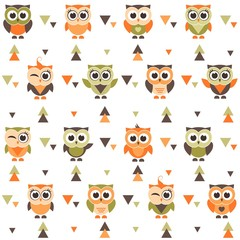 Background with funny owls and owlets