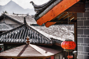 Traditional Chinese tile roof decorated with red lantern