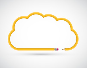 Pencil in the form of clouds for presentations or education. Vector Illustration.