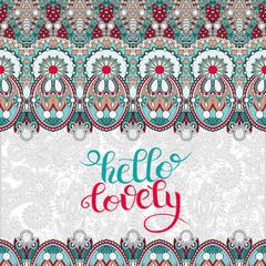 modern calligraphy hello lovely lettering inscription romantic q