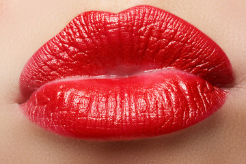 Passionate red lips,macro photography