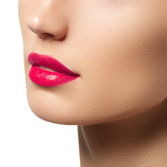 Passionate red lips, macro photography. Beauty and fashion concept