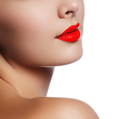 Foto op Canvas Fashion Lips Beauty model girl with perfect make-up isolated over white background