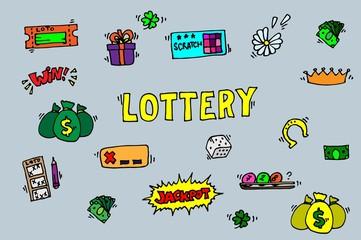 Lottery icons set