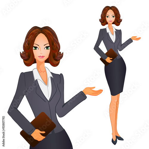 quotcartoon business women with brown short hair on grayblue