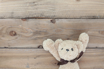 Teddy bear on old wood background.