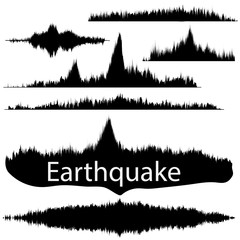 Seismogram of different seismic activity record illustration, earthquake wave on paper fixing, stereo audio wave diagram background. Earthquake sign. Earthquake seismic activity illustration.