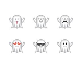 Set of ghost emoticon vector isolated on white background. Emoji vector. Smile icon set. Emoticon icon web.