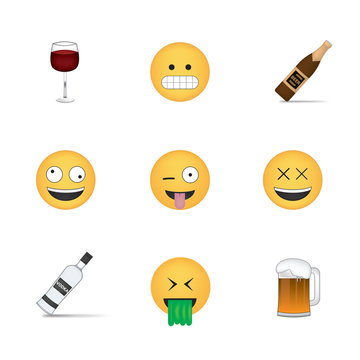 Set of drink emoticon vector isolated on white background. Alcohol emoji vector. Smile icon set. Emoticon icon web.