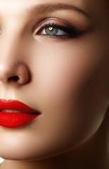 Make-up and cosmetics. Beauty woman face. Beautiful model girl