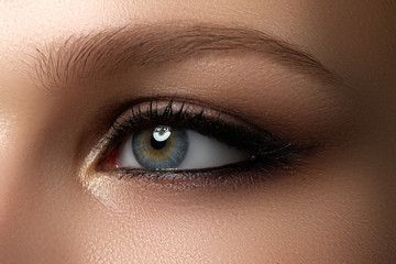 Elegance close-up of female eye with classic dark brown smoky make-up
