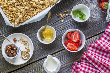 Healthy breakfast. Granola, fresh strawberry and yogurt