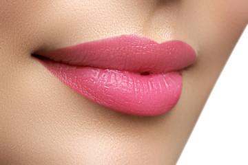 Perfect smile. Beautiful full pink lips. Pink lipstick. Gloss lips