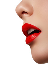 Close-up shot of woman lips with glossy red lipstick. Professional make-up