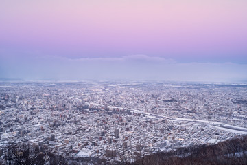 Sapporo city in the evening from mount Moiwa, Hokkaido, Japan