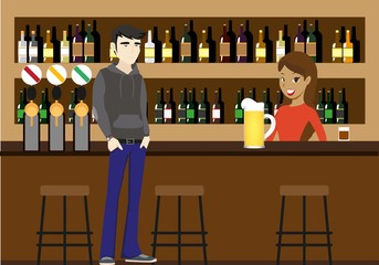 Beer Bar with bargirl and client with beer glass