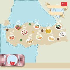 Turkey map with national food. The symbols of turkish kitchen.