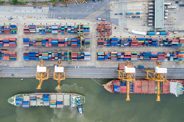 Aerial view of Industrial shipping port in Thailand