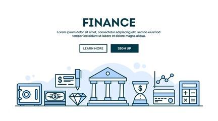 Finance, concept header, flat design thin line style