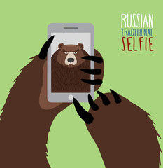 Selfie in Russia. Bear selfie. Bear paw holding a phone. Russian