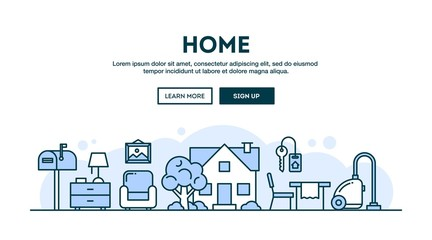 House, home, interior, concept header, flat design thin line style