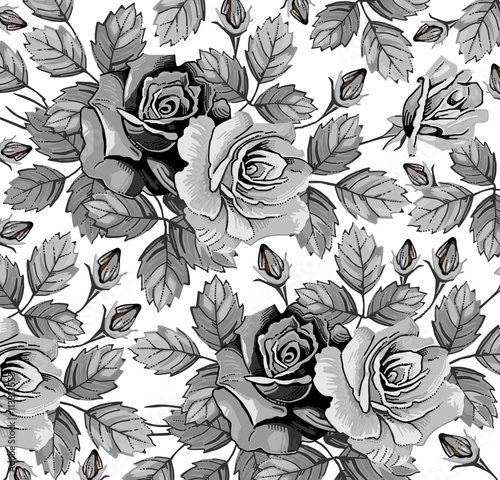 Classic Pattern Beautiful Black White Realistic Flowers Vintage Background
