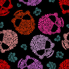 Flower skull Pattern. Scary and cute Vector background
