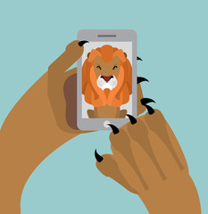 Leo selfie. Lion photographed themselves on phone. Angry wild an
