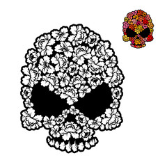 Flower skull coloring book. mexican Head skeleton of rose petals
