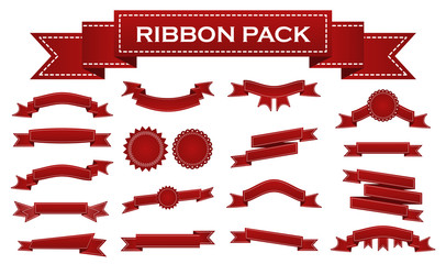 Embroidered red ribbons and stumps pack isolated on white. Can be used for banner, award, sale, icon, logo, label etc. Vector illustration