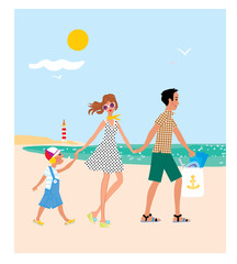 Family with a child going to the beach. Family vacation. vector illustration