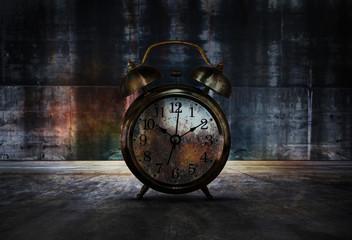 Rusty Vintage Alarm Clock in the Dark Place