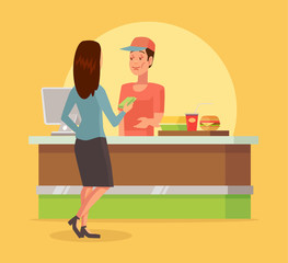 Fast food checkout counter. Vector flat cartoon illustration