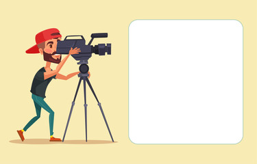 Cameraman with movie camera. Vector flat cartoon illustration