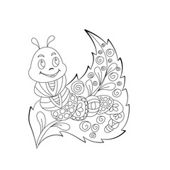 Cute cartoon caterpillar with ornament on leaf. Background, cover. Coloring page design
