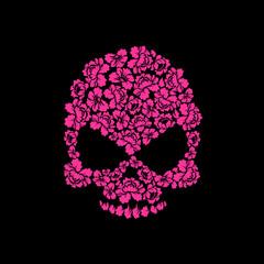 Skull of roses on a black background. Flower skull man. Vector i