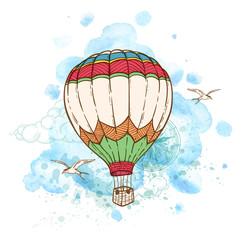 Air balloon and watercolor blots