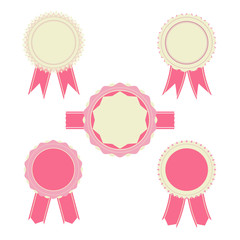 Retro pink color set of ribbon,banner, badges and design element