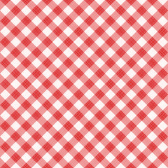 Seamless (you see 4 tiles) red diagonal gingham fabric cloth, pattern, swatch, background, texture or wallpaper.