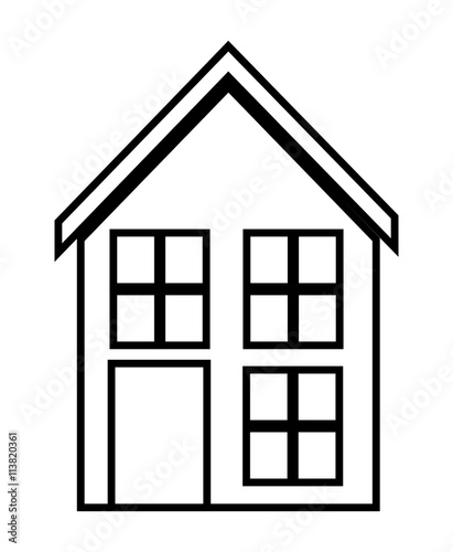 Home family house with door and windows silhouette for Disegno di una casa