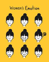 set of women emotion hand draw, vector illustration