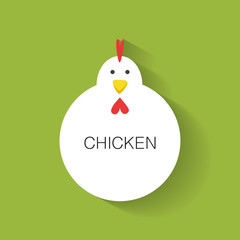Chicken character label cute animal. flat design vector illustration.