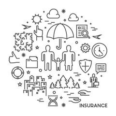 Line design concept for health insurance